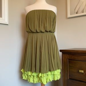 Jessica Simpson Strapless Olive Green & Lime Dress